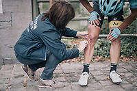Ruslan Tleubayev (KAZ/Astana) being attended by the roadside after a crash<br /> <br /> 97th Brussels Cycling Classic (1.HC)<br /> 1 Day Race: Brussels > Brussels (201km)