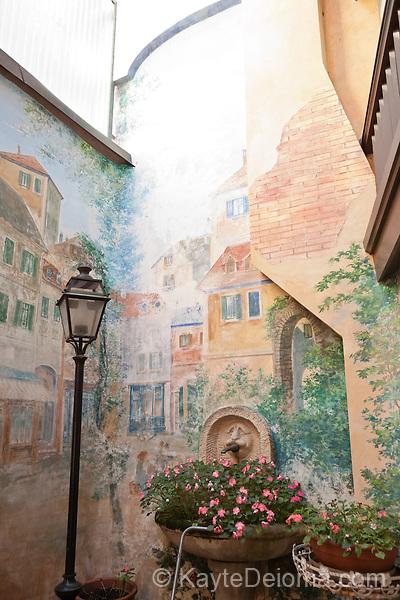 A painted courtyard in the Carouge neighborhood of Geneva, Switzerland