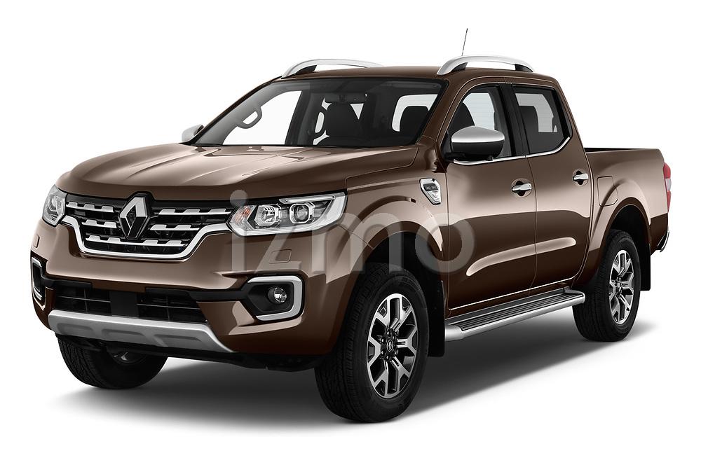 2018 Renault Alaskan Denali 4 Door Pick Up angular front stock photos of front three quarter view
