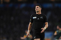 Dan Carter of New Zealand looks on during the Semi Final of the Rugby World Cup 2015 between South Africa and New Zealand - 24/10/2015 - Twickenham Stadium, London<br /> Mandatory Credit: Rob Munro/Stewart Communications