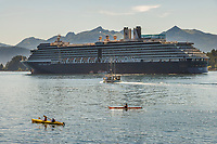 Kayakers and Holland America Cruise ship Oosterdam in Sitka Sound, Baranof Island, southeast, Alaska.