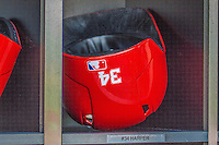 15 September 2013: Washington Nationals outfielder Harper's Helmet lies ready prior to a game against the Philadelphia Phillies at Nationals Park in Washington, DC. The Nationals took the rubber match of their 3-game series 11-2 to keep their wildcard postseason hopes alive. Mandatory Credit: Ed Wolfstein Photo *** RAW (NEF) Image File Available ***