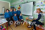 2nd Class pupils at Scoil Mhichíl, Ballinskelligs receive their First Holly Communion Preparation from Fr Patsy Lynch via Online classes straight from the Church, pictured here front l-r; Sean Ó Suilleabháin, Kayla Nic Shiogaird-Breathnacht, back l-r; Aidan Ó Drisceoil, Shane Ó Conchúir, Dylan Ó Drisceoil, Seamus Ó Siochrú with Múinteoir Síle, in easnamh Evie Mai Nic Cárthaigh.