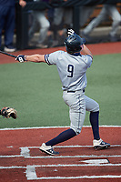 Andy Garriola (9) of the Old Dominion Monarchs follows through on his swing against the Charlotte 49ers at Hayes Stadium on April 23, 2021 in Charlotte, North Carolina. (Brian Westerholt/Four Seam Images)