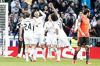 Real Madrid's Asier Illarramendi, Karim Benzema, Garet Bale and Marcelo Vieira celebrate goal during La Liga match.January 31,2015. (ALTERPHOTOS/Acero) /NortePhoto<br /> /NortePhoto.com