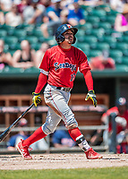 31 May 2018: Portland Sea Dogs infielder Jeremy Rivera in action against the New Hampshire Fisher Cats at Northeast Delta Dental Stadium in Manchester, NH. The Sea Dogs rallied to defeat the Fisher Cats 12-9 in extra innings. Mandatory Credit: Ed Wolfstein Photo *** RAW (NEF) Image File Available ***