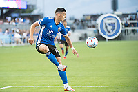 SAN JOSE, CA - AUGUST 17: Cristian Espinoza #10 of the San Jose Earthquakes traps the ball during a game between San Jose Earthquakes and Minnesota United FC at PayPal Park on August 17, 2021 in San Jose, California.