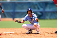 FCL Rays Shane Sasaki (37) questions being called out at second base during a game against the FCL Twins on July 20, 2021 at Charlotte Sports Park in Port Charlotte, Florida.  (Mike Janes/Four Seam Images)