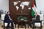 Palestinian Prime Minister Mohammad Ishtayeh, receives the Indian ambassador on the occasion of the end of his official duties in the West Bank city of Ramallah, on March 17, 2021. Photo by Prime Minister Office