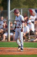 Minnesota Golden Gophers catcher Eli Wilson (4) at bat during a game against the Boston College Eagles on February 23, 2018 at North Charlotte Regional Park in Port Charlotte, Florida.  Minnesota defeated Boston College 14-1.  (Mike Janes/Four Seam Images)
