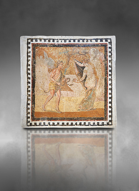 Picture of a Roman mosaics design depicting a Satyr persuing Bacchante, from the ancient Roman city of Thysdrus. End of 2nd century AD, House in Jiliani Guirat area. El Djem Archaeological Museum, El Djem, Tunisia. Against a grey background