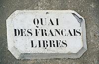 """Europe/France/Bretagne/29/Finistère/Ile de Sein: Détail plaque du """"Quai des Français Libres"""""""