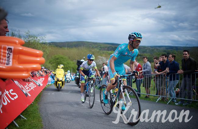 Michele Scarponi (ITA/Astana) & Johan Esteban Chaves (COL/Orica-GreenEDGE) are the race leaders coming up La Redoute (1650m/9.7%)<br /> <br /> 101th Liège-Bastogne-Liège 2015