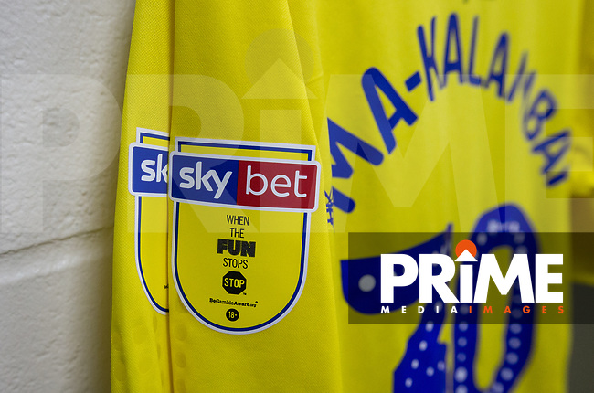 Sky bet badge during the Carabao Cup 2nd round match between Wycombe Wanderers and Forest Green Rovers at Adams Park, High Wycombe, England on 28 August 2018. Photo by Kevin Prescod.