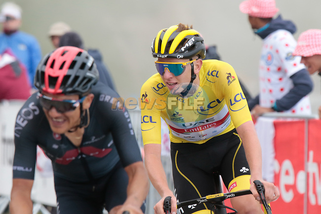 Richard Carapaz (ECU) Ineos Grenadiers and Yellow Jersey Tadej Pogacar (SLO) UAE Team Emirates slug it out for stage honours as they climb Col du Portet during Stage 17 of the 2021 Tour de France, running 178.4km from Muret to Saint-Lary-Soulan Col du Portet, France. 14th July 2021.  <br /> Picture: Colin Flockton | Cyclefile<br /> <br /> All photos usage must carry mandatory copyright credit (© Cyclefile | Colin Flockton)