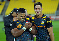 Cheifs' Samisoni Taukei'aho and Quinn Tupaea celebrate winning the Super Rugby Aotearoa match between the Hurricanes and Chiefs at Sky Stadium in Wellington, New Zealand on Saturday, 20 March 2020. Photo: Dave Lintott / lintottphoto.co.nz