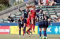 Cary, North Carolina  - Saturday August 19, 2017: Samantha Mewis and Tori Huster during a regular season National Women's Soccer League (NWSL) match between the North Carolina Courage and the Washington Spirit at Sahlen's Stadium at WakeMed Soccer Park. North Carolina won the game 2-0.