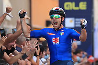 12th September 2021: Trento, Trentino–Alto Adige, Italy: UEC Road European Mens Elite Cycling Championships; Sonny COLBRELLI (ITA) celebrates as he crosses the finish line
