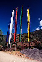 Colorful Buddhist prayer flags in Bhutan.