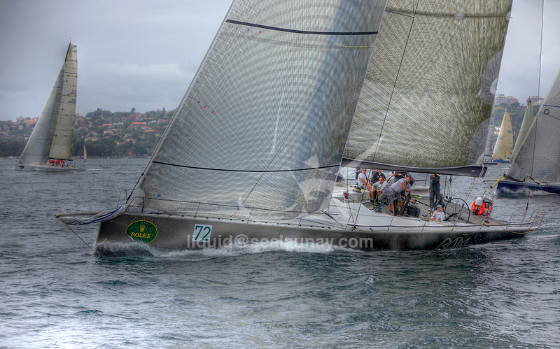 Ran at the last day of the Rolex Trophy Rating Series 2009 in Sydney..UK based Niklas Zennstromís R·n, a 72-footer from the design board of the noted German-based naval architects Judel-Vrolijk..The Rolex Trophy, formerly the British Trophy, is sailed out of Sydney in December each year. It is not only a significant lead-up event to the Rolex Sydney Hobart Yacht Race, but a prestigious regatta in its own right..