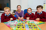 Marie Cronin teacher for deaf and the hard of hearing with Paudie O'LEary, Isabelle Carey and Jack O'Leary in her new specialized class room in Knockanes NS Headford