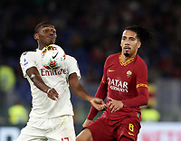 Football, Serie A: AS Roma - AC Milan, Olympic stadium, Rome, October 27, 2019. <br /> Milan's Leao (l) in action with Roma's Chris Smalling (r)  during the Italian Serie A football match between Roma and Milan at Olympic stadium in Rome, on October 27, 2019. <br /> UPDATE IMAGES PRESS/Isabella Bonotto