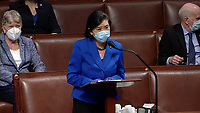 United States Representative Judy Chu (Democrat of California) makes remarks during the US House Impeachment debate and vote in the US Capitol in Washington, DC on Wednesday, January 13, 2021.  This will be the second occasion where the US House has brought charges against US President Donald J. Trump.<br /> Credit: US House TV via CNP /MediaPunch