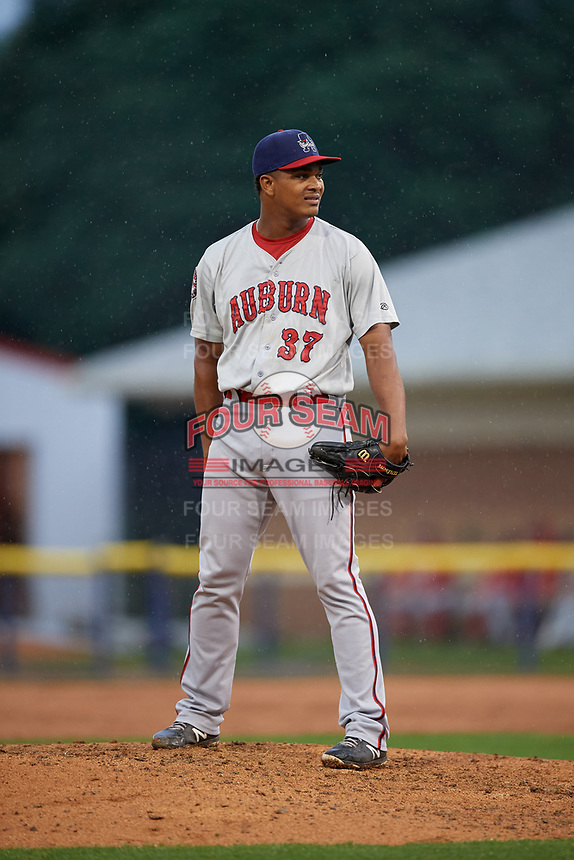Auburn Doubledays pitcher Fausto Segura (37) during a NY-Penn League game against the Batavia Muckdogs on September 1, 2019 at Dwyer Stadium in Batavia, New York.  Auburn defeated Batavia 3-1.  (Mike Janes/Four Seam Images)