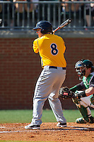 Shane Zimmer (8) of the Canisius Golden Griffins at bat against the Charlotte 49ers at Hayes Stadium on February 23, 2014 in Charlotte, North Carolina.  The Golden Griffins defeated the 49ers 10-1.  (Brian Westerholt/Four Seam Images)