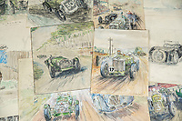 BNPS.co.uk (01202 558833)<br /> Pic: MaxWillcock/BNPS<br /> <br /> Pictured: An early/mid-20th century folder of watercolours and drawings related to motor racing and other subjects, in the Dreweatts Donnington Priory saleroom.<br /> <br /> A charming collection of early 20th century motor racing drawings have sold for £1,170.<br /> <br /> The watercolours, showing scenes from the Golden Age of motorsport, were produced by brothers Peter and Francis Lord in the 1930s.<br /> <br /> Vintage vehicles can be seen racing through the British countryside, while larger events draw packed crowds to racetracks. There are scenes of racing at historic Brooklands in Weybridge, Surrey, the world's first purpose-built racetrack, in 1936.<br /> <br /> The pair also had a fascination with World War Two, drawing duels in the sky between the RAF and Luftwaffe as the Battle of Britain raged on.<br /> <br /> The collection of over 20 drawings, which measure 10ins by 13ins, went under the hammer with auctioneers Dreweatts, of Newbury, Berks.