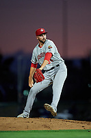 Vancouver Canadians starting pitcher Adam Kloffenstein (34) delivers a pitch during a Northwest League game against the Tri-City Dust Devils at Gesa Stadium on August 21, 2019 in Pasco, Washington. Vancouver defeated Tri-City 1-0. (Zachary Lucy/Four Seam Images)