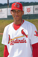Cesar Valera #24 of the Johnson City Cardinals at Howard Johnson Field July 3, 2010, in Johnson City, Tennessee.  Photo by Brian Westerholt / Four Seam Images