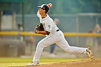 19 July 2012: Vermont Lake Monsters pitcher Tyler Vail on the mound against the Tri-City ValleyCats at Centennial Field in Burlington, Vermont. The ValleyCats defeated the Lake Monsters 6-3 in NY Penn League action. Mandatory Credit: Ed Wolfstein Photo