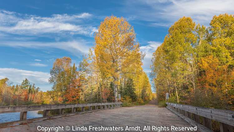 Bridge crossing the Chippewa River in the Chequamegon National Forest.