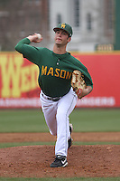 George Mason pitcher John Williams #19 pitching during a game against the West Virginia Mountaineers at BB&T Coastal Field on February 26, 2012 in Myrtle Beach, SC.  George Mason defeated West Virginia 1-0. (Robert Gurganus/Four Seam Images)