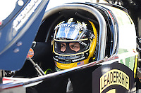 Sept 9, 2012; Clermont, IN, USA: NHRA top fuel dragster driver Tony Schumacher during the US Nationals at Lucas Oil Raceway. Mandatory Credit: Mark J. Rebilas-