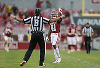 Arkansas wide receiver T.J. Hammonds (41) reacts after completing a long pass, Saturday, November 21, 2020 during the third quarter of a football game at Donald W. Reynolds Razorback Stadium in Fayetteville. Check out nwaonline.com/201122Daily/ for today's photo gallery. <br /> (NWA Democrat-Gazette/Charlie Kaijo)