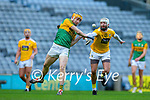 Brendan O'Leary, Kerry in action against Neil McManus, Antrim during the Joe McDonagh Cup Final match between Kerry and Antrim at Croke Park in Dublin.