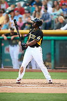 Michael Bourn (1) of the Salt Lake Bees bats against the Albuquerque Isotopes in Pacific Coast League action at Smith's Ballpark on June 10, 2017 in Salt Lake City, Utah. The Isotopes defeated the Bees 4-2. (Stephen Smith/Four Seam Images)