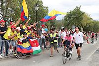 ESPAÑA, 12-09-2019: Sergio Higuita (COL - EF Education First) durante la etapa 18, hoy, 12 de septiembre de 2019, que se corrió entre Comunidad de Madrid. Colmenar Viejo y Becerril de la Sierra con una distancia de 177,5 km como parte de La Vuelta a España 2019 que se disputa entre el 24/08 y el 15/09/2019 en territorio español. / Sergio Higuita (COL - EF Education First) during the stage 18 today, September 12, 2019, from Comunidad de Madrid. Colmenar Viejo to Becerril de la Sierra with a distance of 177,5 km as part of Tour of Spain 2019 which takes place between 08/24 and 09/15/2019 in Spain.  Photo: VizzorImage / Luis Angel Gomez / ASO<br /> VizzorImage PROVIDES THE ACCESS TO THIS PHOTOGRAPH ONLY AS A PRESS AND EDITORIAL SERVICE AND NOT IS THE OWNER OF COPYRIGHT; ANOTHER USE HAVE ADDITIONAL PERMITS AND IS  REPONSABILITY OF THE END USER