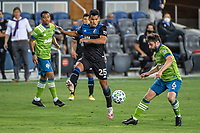 SAN JOSE, CA - OCTOBER 18: Andres Rios #25 of the San Jose Earthquakes battles with Joao Paulo #6 of the Seattle Sounders during a game between Seattle Sounders FC and San Jose Earthquakes at Earthquakes Stadium on October 18, 2020 in San Jose, California.