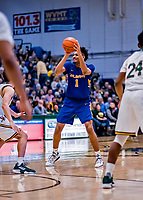 9 February 2019: University at Albany Great Dane Forward Malachi De Sousa, a Freshman from Beacon, NY, in second-half action against the University of Vermont Catamounts at Patrick Gymnasium in Burlington, Vermont. The Catamounts defeated the Danes 67-49 in their America East matchup. Mandatory Credit: Ed Wolfstein Photo *** RAW (NEF) Image File Available ***