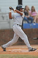 Bluefield Blue Jays center fielder Dalton Pompey #28 swings at a pitch during the first game of the 2011 Championship Series between the Bluefield Blue Jays and the Johnson City Cardinals at Howard Johnson Field on September 3, 2011 in Johnson City, Tennessee.  The Cardinals won the game 4-3.  (Tony Farlow/Four Seam Images)