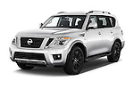2018 Nissan Armada Platinum 5 Door SUV Angular Front stock photos of front three quarter view