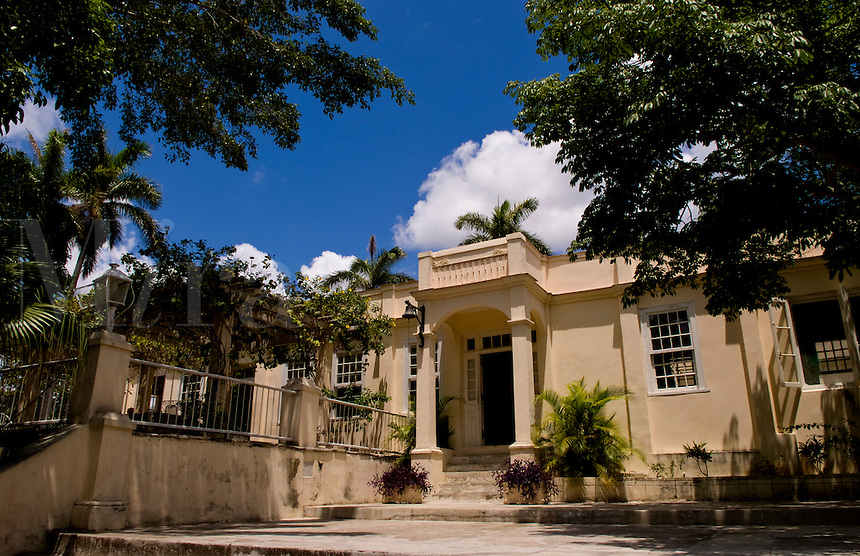 Exterior of the historical home of writer Ernest Hemingway in Havana Cuba where he wrote many oif his writings and is now a museum showing how he lived in San Francisco de Paula
