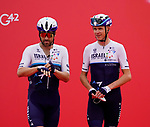 Alex Dowsett and Chris Froome (GBR) Isreal Start-Up Nation at sign on before the start of Stage 5 of the 2021 UAE Tour running 170km from Fujairah to Jebel Jais, Fujairah, UAE. 25th February 2021.  <br /> Picture: Eoin Clarke   Cyclefile<br /> <br /> All photos usage must carry mandatory copyright credit (© Cyclefile   Eoin Clarke)