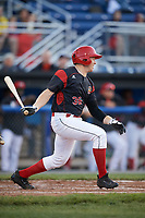 Batavia Muckdogs first baseman Ben Fisher (36) at bat during a game against the West Virginia Black Bears on June 26, 2017 at Dwyer Stadium in Batavia, New York.  Batavia defeated West Virginia 1-0 in ten innings.  (Mike Janes/Four Seam Images)