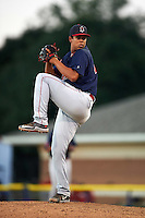 Lowell Spinners pitcher Daniel Gonzalez (41) delivers a pitch during a game against the Batavia Muckdogs on August 12, 2015 at Dwyer Stadium in Batavia, New York.  Batavia defeated Lowell 6-4.  (Mike Janes/Four Seam Images)
