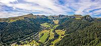 France, Puy de Dome, Volcans d'Auvergne Regional Natural Park, Mont Dore, view on the Monts Dore and Massif du Sancy (aerial view) // France, Puy-de-Dôme (63), Parc naturel régional des volcans d'Auvergne, Mont-Dore, vue sur les monts Dore et le massif du Sancy (vue aérienne)
