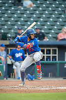Tulsa Drillers infielder Christian Santana (23) readies for a pitch on May 13, 2019, at Arvest Ballpark in Springdale, Arkansas. (Jason Ivester/Four Seam Images)